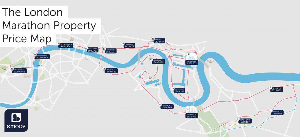 The London Marathon House Price Map for 2017