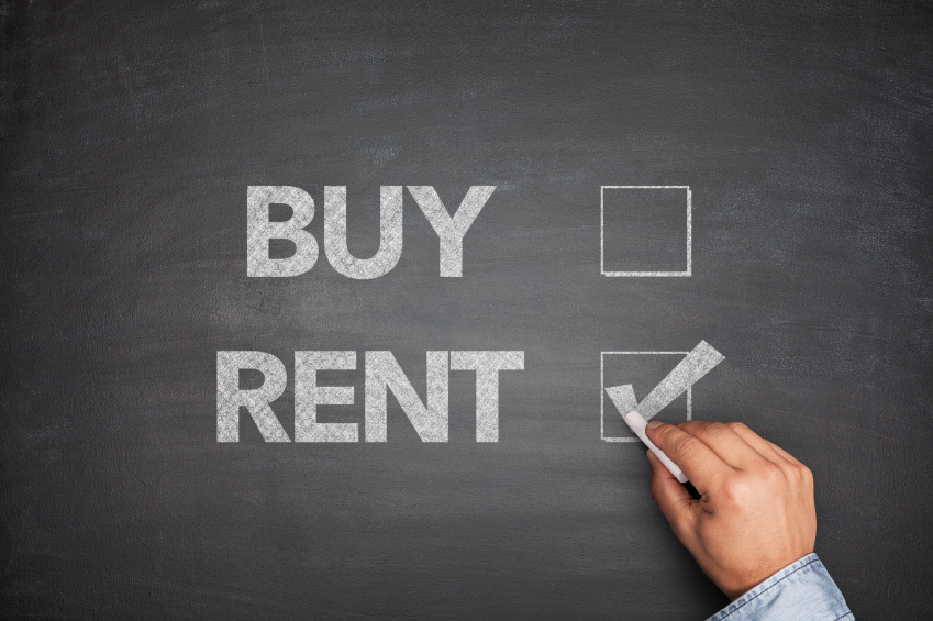 Buy or rent on black Blackboard with hand
