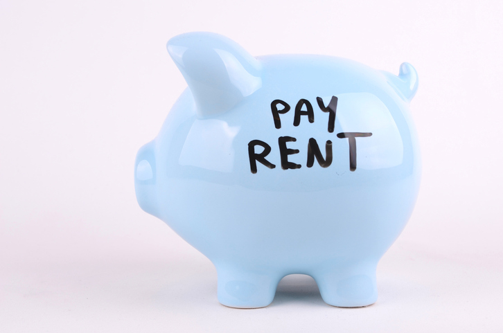 Pay rent written on the side of a piggybank