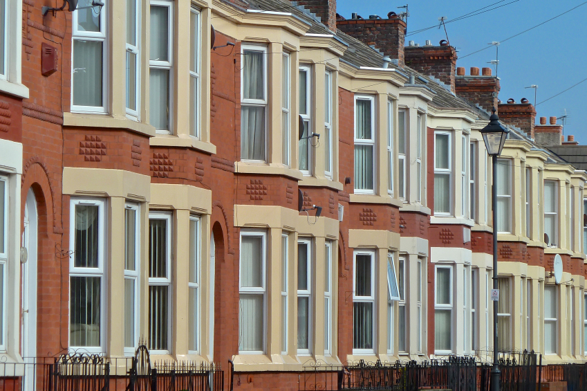 Row of Victorian terrace houses in Liverpool, England